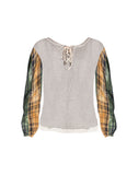 Plaid Contrast Sweatshirt