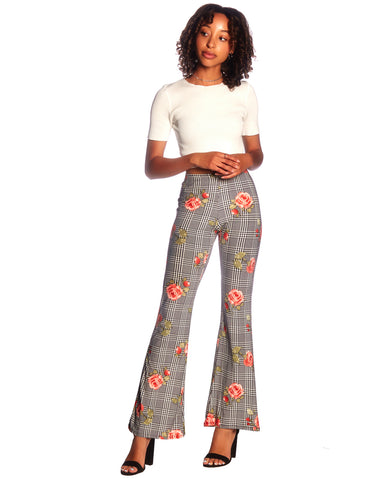 Plaid Floral Bell Bottom Pant.