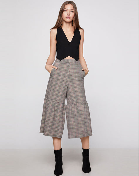 Plaid Pintucked Culottes