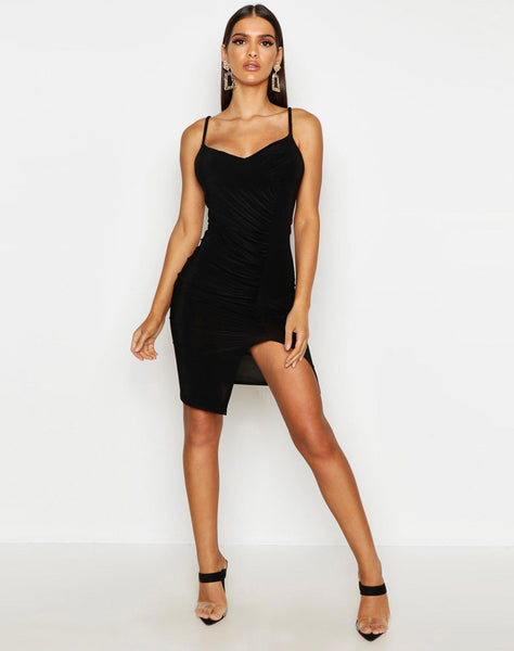 Plaited Ruched Seam Bodycon Dress