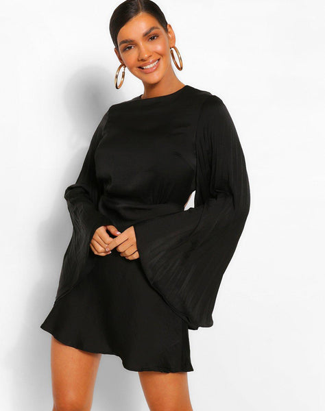 Pleated Wide Sleeve Skater Dress