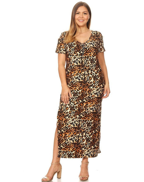 Plus Brushed Animal Maxi Dress With Zipper and Shoulder Cage Detail