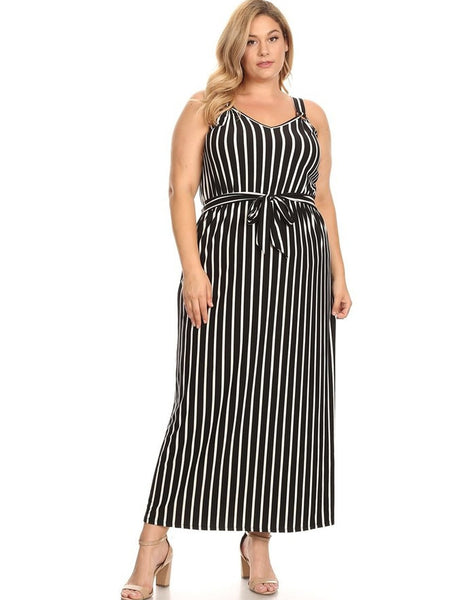 "Plus Brushed Maxi with Wide Straps, Waist Tie and ""O"" Ring Inserst"