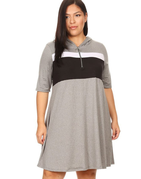 Plus Brushed Zip Color Block Dress