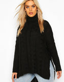 Plus Cable Roll Neck Oversized Jumper