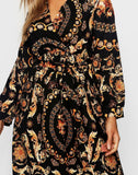 Plus Chain Printed Wrap Front Skater Dress