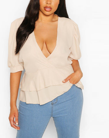 Plus Double Ruffle Wrap Puff Sleeve Peplum Top