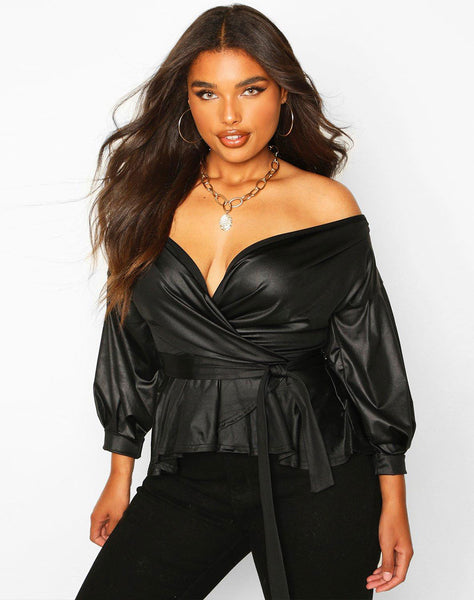 Plus Faux Leather Off The Shoulder Top