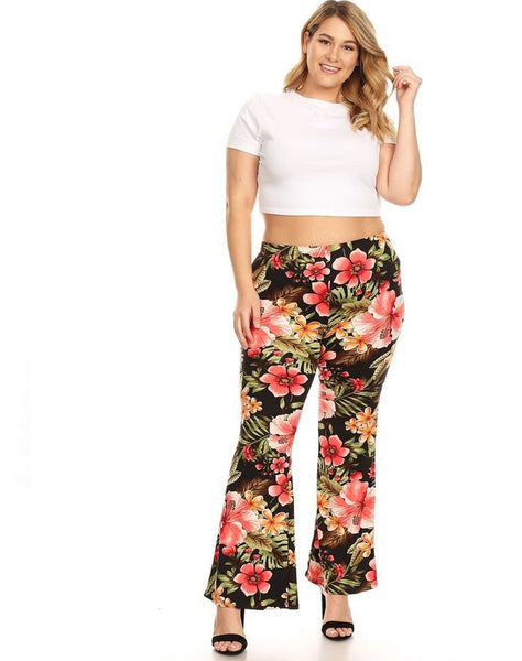 Plus Floral  Bell Bottom Pant