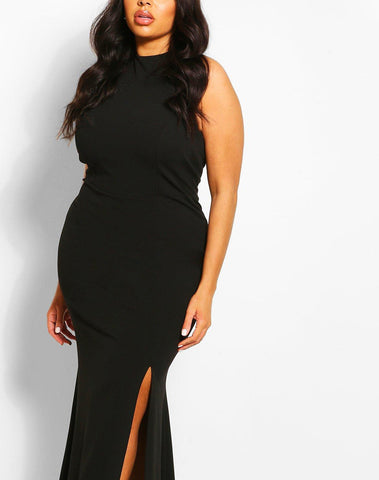 Plus Halterneck Thigh High Split Maxi Dress