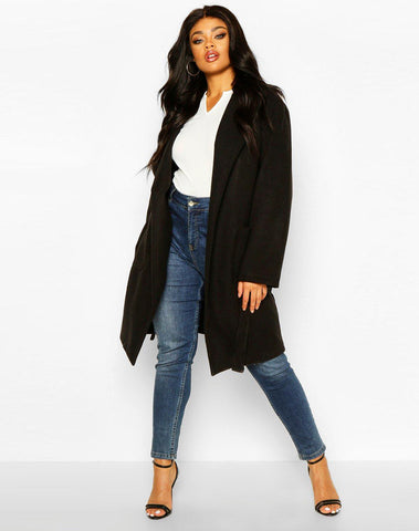 Plus Heavy Wool Look Wrap Duster Coat
