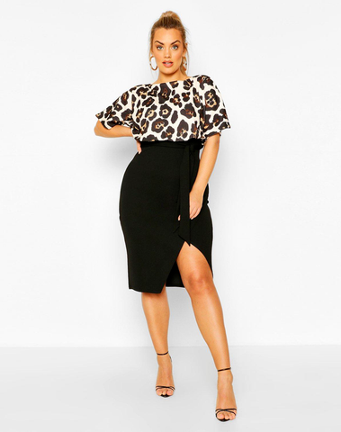 Plus Leopard Contrast Wrap Midi Dress