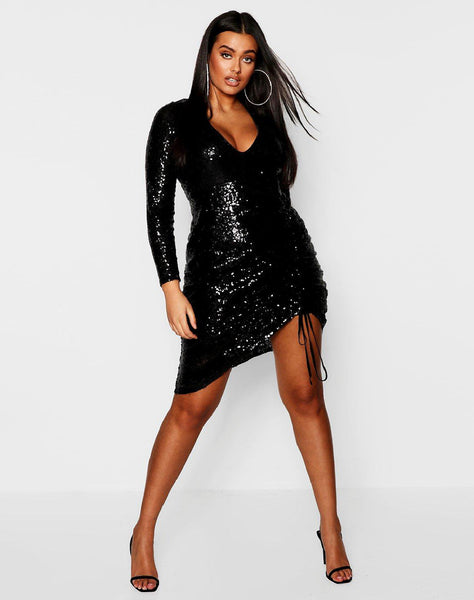 Plus Long Sleeve Plunge Ruched Mini Dress