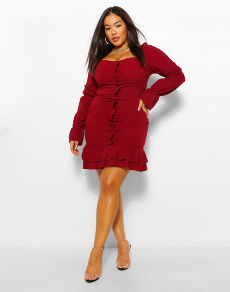 Plus Ruffle Detail Long Sleeve Skater Dress