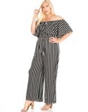 Plus Ruffle Off the Shoulder Wide Leg Jumpsuit with Belt