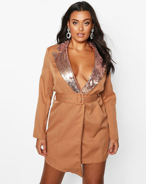 Plus Self Belt Sequin Collar Blazer Dress