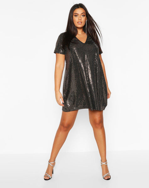 Plus Sequin Oversized T-shirt Dress