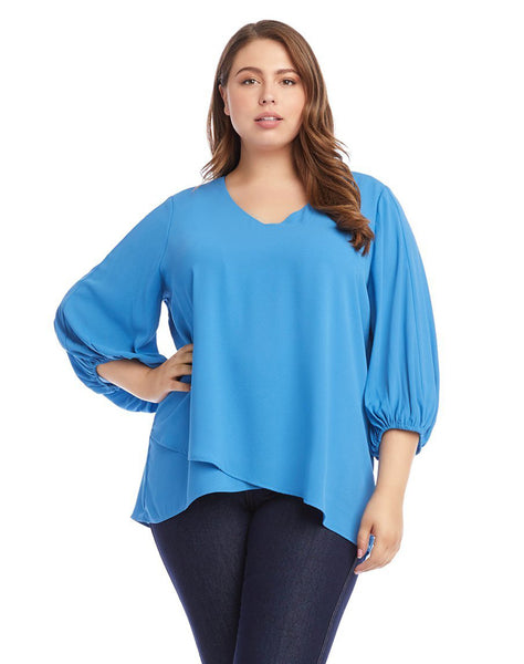 Plus Size Crossover Blouson Sleeve Top