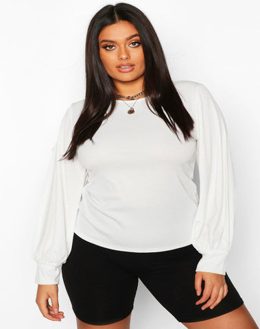 Plus Soft Rib Balloon Sleeve Crew Neck Top