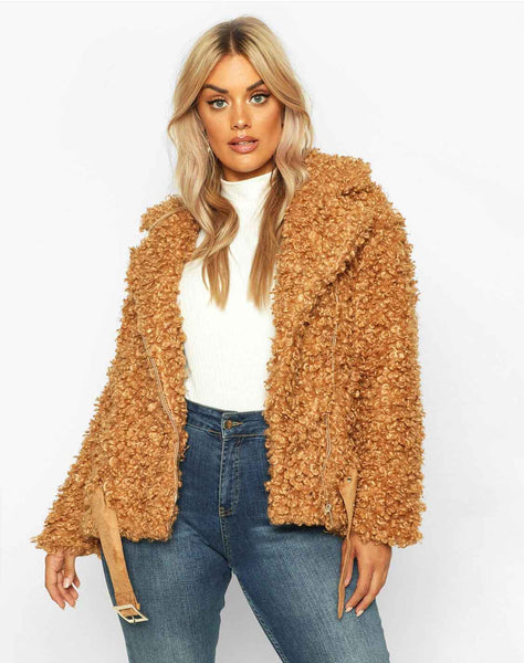 Plus Teddy Faux Aviator Jacket