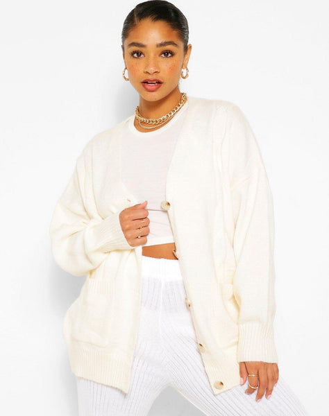 Plus Textured Cable Oversized Cardigan
