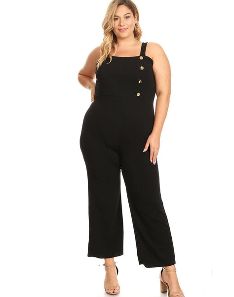 Plus Textured Knit Jumpsuit with Wide Straps and Side Buttons Detail