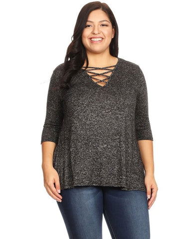 Plus V-Neck Sweater Top