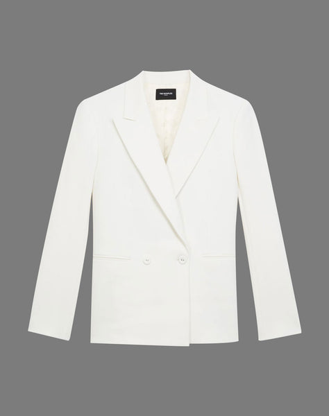 Double-breasted Ecru Suit Jacket W/pockets