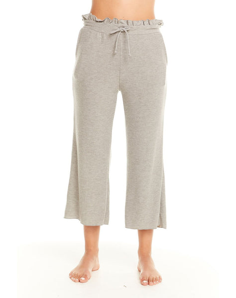 Cozy Knit Paperbag Waist Cropped Wide Leg Pant W/ Pockets