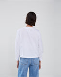 Poplin Reverse Collarless Long Sleeve Shirt