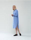 Poplin Stripe Long Sleeve Button-Up Shirt Dress