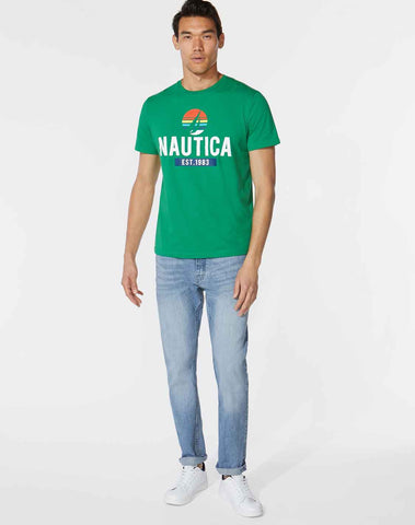 Premium Cotton Nautica Logo Graphic Tee
