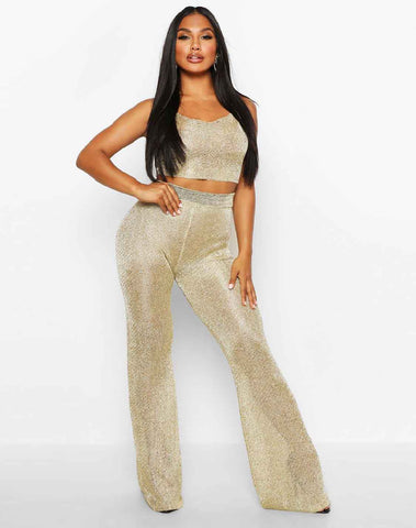 Premium Cropped Square Neck & Trouser Metallic Set