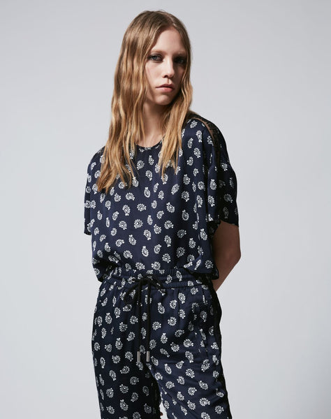Printed Navy Blue Top With Lacing