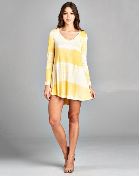 Printed Stylish Modern Long Sleeve Mini Tunic Dress
