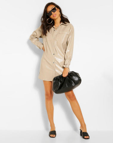 Pu Button Down Shirt Dress