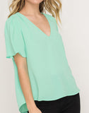 Puffed Flutter Sleeve Top