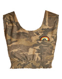 """Rainbow"" Patch Smocked Crop Tank"