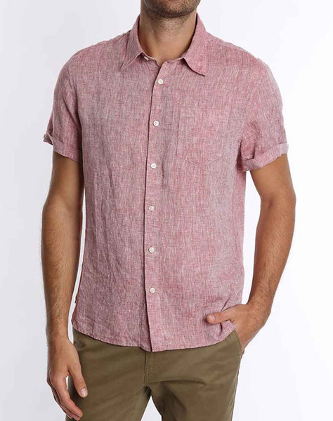 Red Linen Short Sleeve Shirt