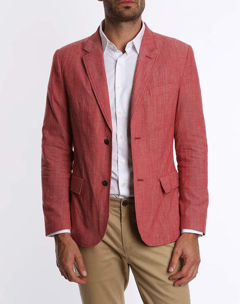 Red Stretch Chambray Blazer