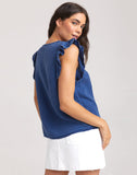 Released Ruffle V-Neck Top