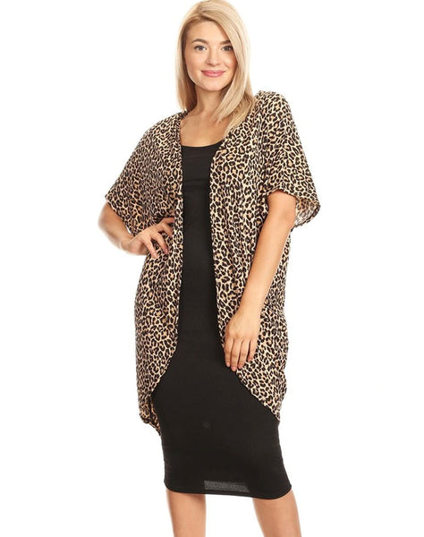 Rib Body Con Dress with Attached Kimono