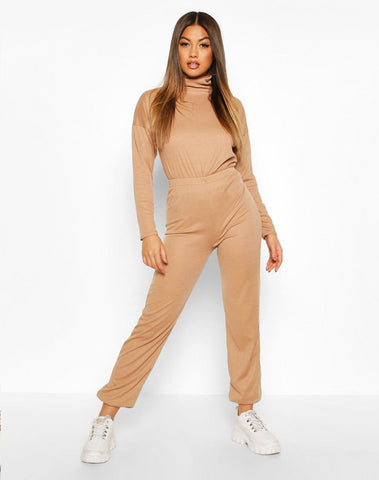 Rib Knit Roll Neck Lounge Set