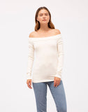 Rib Off-shoulder Long Sleeve