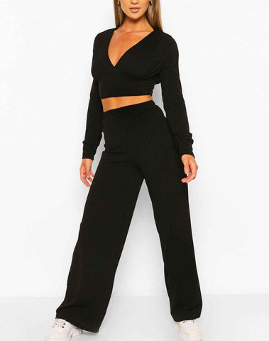 Rib Plunge Crop & Wide Leg Set