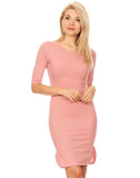 Ribbed Curved Hem Midi Dress