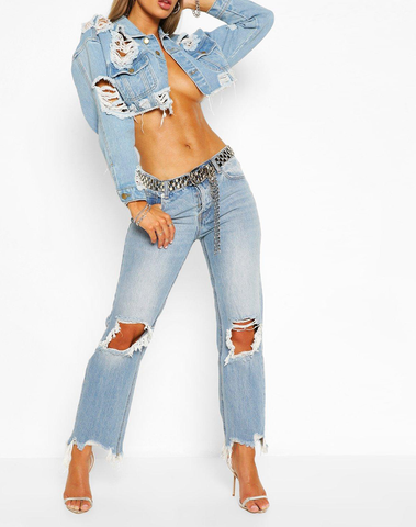 Ripped Frayed Hem Vintage Wash Mom Jeans