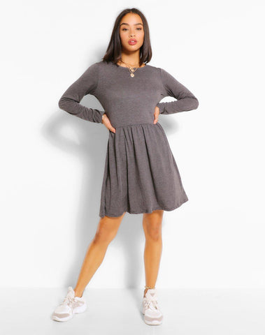 Round Neck Long Sleeve Skater Dress