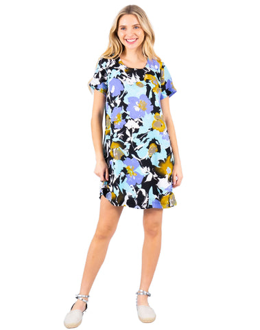 Round Neck Short Sleeve Shift Dress With Floral Print
