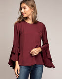 Ruby Ruffled Bell Sleeve Blouse